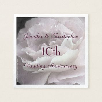 Pink Rose Paper Napkins, 10th Wedding Anniversary Paper Napkin