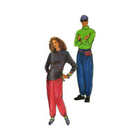 """1990's Simplicity 7526 Woman's or Man's Pants and T-Shirts in Size XS-XL 