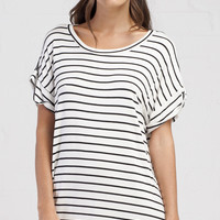 Stripe Short Sleeve Tee Dress - White/Black