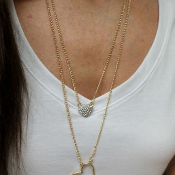 Double Layer Long 14k Gold Filled Rhinestone Heart Pendant Necklace - 2 Hearts /  Charm Pendant Necklace, Gold Layering Necklace