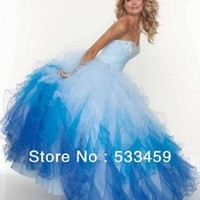 Free shipping crystal blue quinceanera dresses 2014 new sweet 16 ball gown debutante dress quinceanera gowns