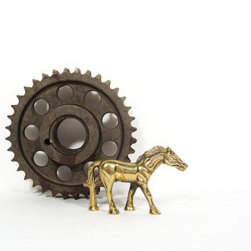 Vintage Brass Horse Figurine Small Metal Collectible Animal