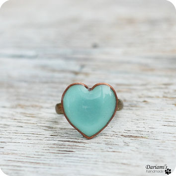 Ring - Mint green heart