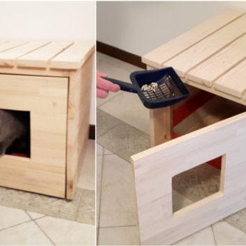 Cat Litter Box Cover, Cat House, Cat Litter Box Cabinet made of recycled spruce wood
