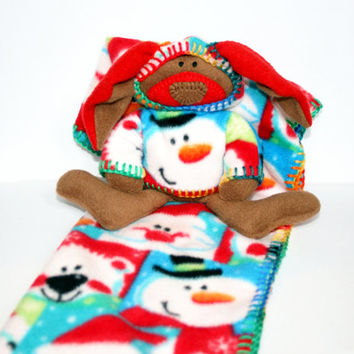 Ho Ho Ho Merry Christmas Baby Blanket with Bunny, Security Blanket - waldorf bunny rabbit and a blanket with Santa, Frosty, and a Bear motif