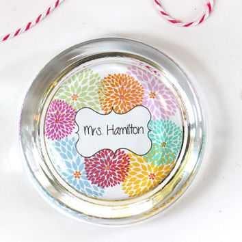 Custom Paperweight Dahlias Desk Accessories Personalized Gift Teacher Gift Office Gift Decor Dorm Room Hostess Gift Bright Flowers Colorful
