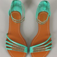 Bamboo Haile-01 Strappy Open Toe Flat Sandal