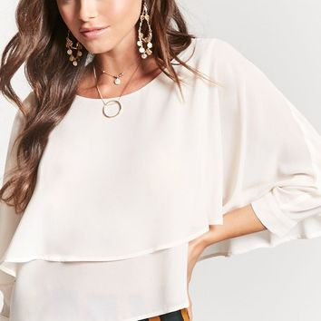 Tiered Crepe Hem Top