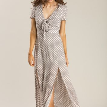 Ava Taupe Polka Dot Maxi Dress