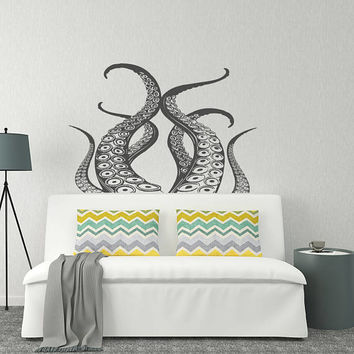 Octopus Vinyl Wall Decal Bedroom Decor- Kraken Decal Sea Animals Bathroom Decor- Ocean Wall Decal- Octopus Tentacle Nautical Wall Decal #135