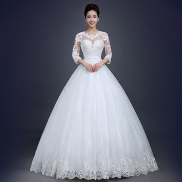 Sexy Lace Vintage elegant Wedding Dresses Casamento 2017 Plus Size bridal Ball Gown Princess Style Robe De Mariage With Sleeves