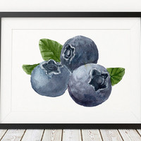 Blueberry print Berries art Kitchen poster Food print ACW485