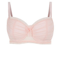 Kelly Brook Shell Pink Ruched Mesh Bra