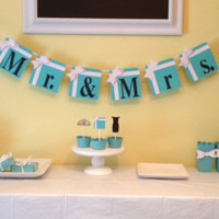 "Breakfast at Tiffany's Tiffany Blue Party Decorations - ""Mr. & Mrs."" Banner"
