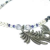 Art Deco Inspired Purple White and Lilac Necklace