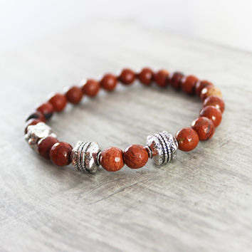 Jasper Gemstone Bracelet, Dark Red Bracelet, Men's Bracelet, Antique Silver Bracelet, Unisex Bracelet, Red Beaded Bracelet, Handmade Jewelry