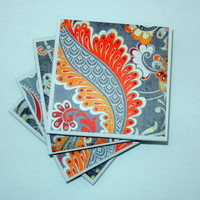 Grey, Orange and Yellow Patterned Ceramic Coasters, Set of Four