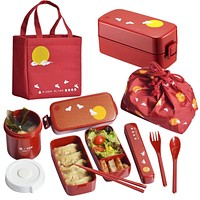 Double deck box Japanese bento box microwave oven heating plastic dinnerware set