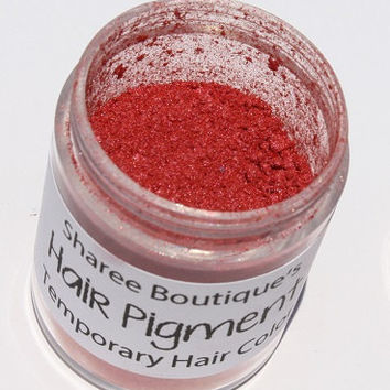 Coral Red Hair Pigment - Temporary Hair Color - Hair Chalk Alternative - Colored Sparkle