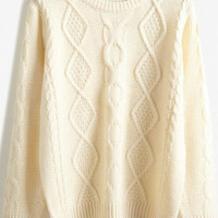 Apricot Diamond Patterned Knitted Sweater