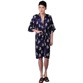 New Summer Men's Silk Satin Robe Gown Chinese Style Rayon kaftan Bathrobe Sleepwear Kimono With Belt S M L XL XXL XXXL 011028