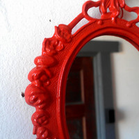 Decorative Wall Mirror in Vintage Blood Orange Frame