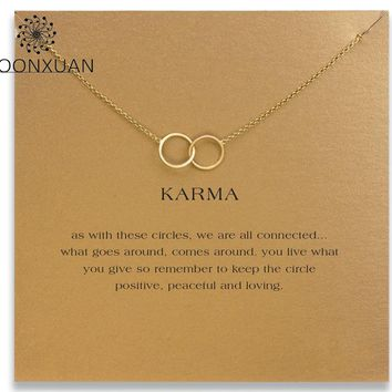 Dogeared Double Circle Karma Choker Necklace Colar Kolye Nnecklaces & Pendants Chocker Collares Chain Charms Women Collier MX07