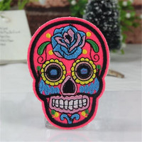 Clothes patch Apparel Sewing & Fabric Fashion Badge Skull Flower Rose iron on patches