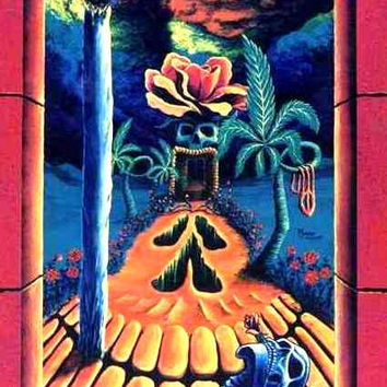 "Unique Surreal Blacklight Art Poster #8 ""Skull Garden Illusions"" by Vincent Monaco"