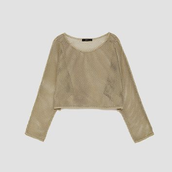 CROPPED MESH SWEATER DETAILS