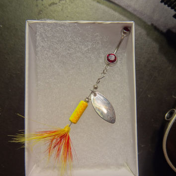 SALE--- Yellow Rooster Tail Fishing Lure Navel Belly Button Ring For Fishing Country Girl
