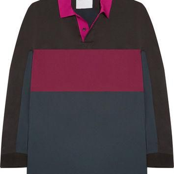 Koch¨¦ - Oversized color-block washed-satin polo shirt