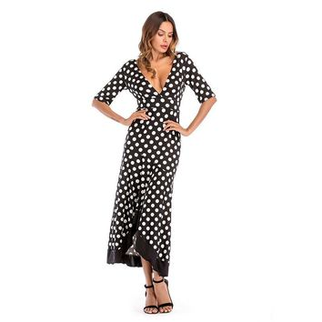 Deep V Collar Irregular Printed Dot Lotus Leaf Maxi Dress Halter Dress Wave Blackless Milk Silk Flouncing Longuette