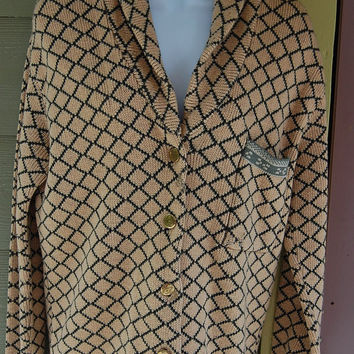 Vintage 80s Emporio Armani Shawl Collar Trellis Classic Preppy Tailored Sweater Nordic Norwegian Style Gold Button Cardigan Sweater Size 44
