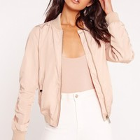 Missguided - Lightweight Zipped Sleeve Pocket Bomber Jacket Pink