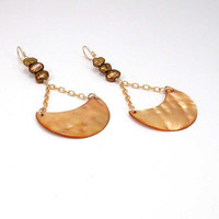 Golden Crescent Shell and Pearl Earrings Handmade by WoobieLove