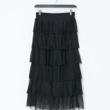 Go With The Flow Midi Skirt - Black Ruffle