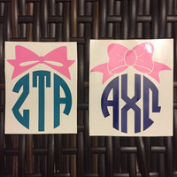 Circle Monogram Vinyl Decal With Colored Bow (Greek & Roman letters) Sorority Big/Little gift, for laptops, phones, cars,