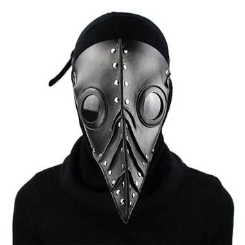 Cool Black PU Leather Gothic Steampunk Retro Long Nose Plague Bird Mask Doctor Mask Carnival Halloween Anime Cosplay Accessories