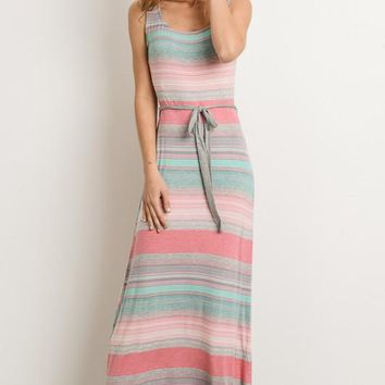 Rainbow Striped Maxi Dress - Coral and Grey
