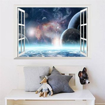 3D Window Scenery Galaxy Outer Space Planet Wall Sticker