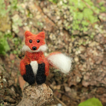 Miniature Fox - Woodland Animal Artwork - Needle Felted Miniature Plush Art Doll or Ornament