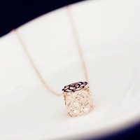 Rose and Rhinestone Ball Necklace