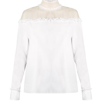 Ruffled sheer-panel cotton top | Valentino | MATCHESFASHION.COM UK