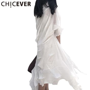 CHICEVER Summer Irregular Pleated White Long Cardigan Women Basic Coat Female 2017 Chiffon Loose Vacation Coats Women's Clothing