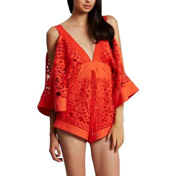 2017 Summer Kimono Sleeves V-Neck Lace Alice McCall Playsuit Wide Short Romper Jumpsuit Beach Sexy Women Overalls Combishort