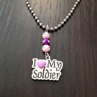 I love my soldier necklace, pink / purple i love my soldier necklace