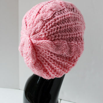 Womens Knit Slouchy Beanie, Pink Hat, Hand Knit Womens Hat.