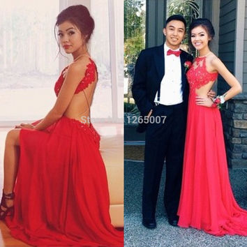 2014 Halter Red Lace Beaded Top Backless A Line Chiffon Mermaid Prom Dress Open Back 2014 Long Dress Fashion