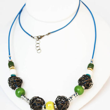 Metal Mesh Long Beaded Necklace with Green, Yellow and White Ceramic Beads, Silver Filigree Beads strung on Blue Leather Cord, Gift for Her